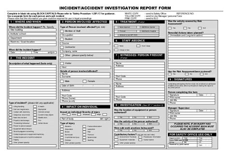 incident investigation template incident investigation report template blank forms
