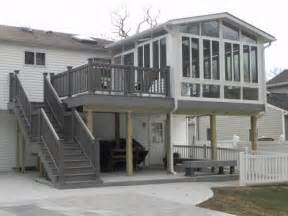 Sunroom On Deck Two Story Decks With Stairs Two Story Sunroom On