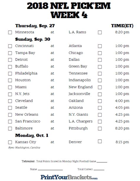 printable entire nfl schedule nfl weekly pick em grid complete pdf library