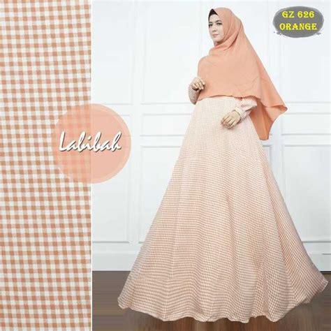 Busana Muslim Klarissa Oren Bergo gamis motif kotak kecil gz626 orens model baju gamis terbaru