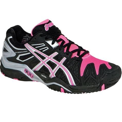 asics gel resolution 5 s tennis shoes black hotpink