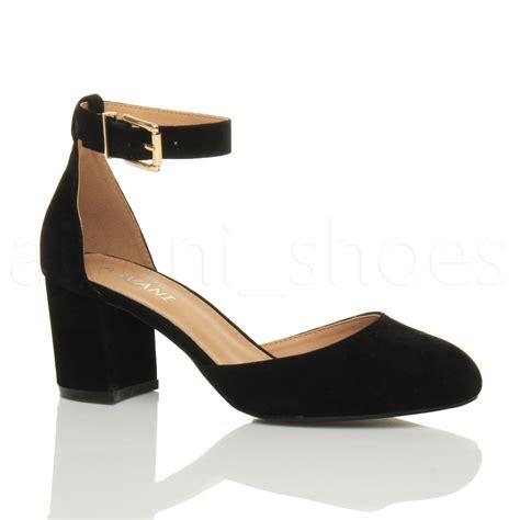 heels shoes womens low mid block heel ankle