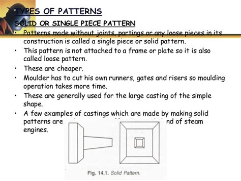 use of solid pattern in casting u2 p1 patterns