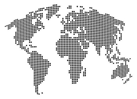 world dot map black and white map of the world showing countries