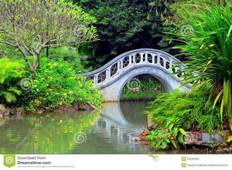 Green Foliage Outdoor Plants - zen garden with arch shape bridge royalty free stock photo image 34345045