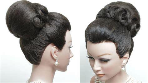 bridal hairstyle  long hair tutorial classic high bun