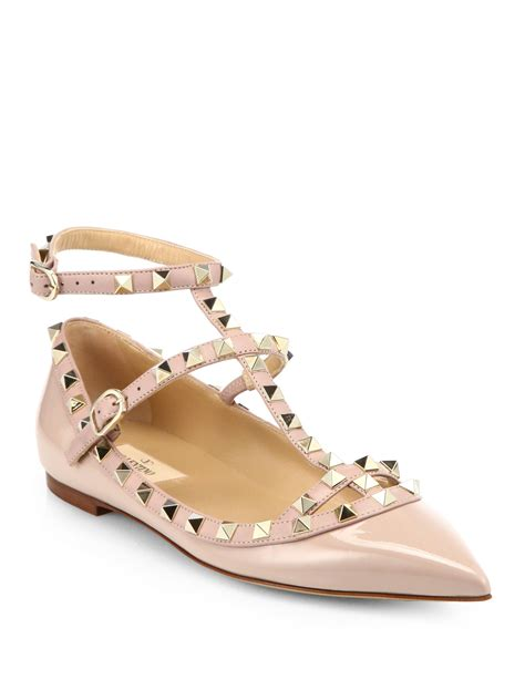 valentino shoes flats valentino rockstud patent leather cage flats in pink