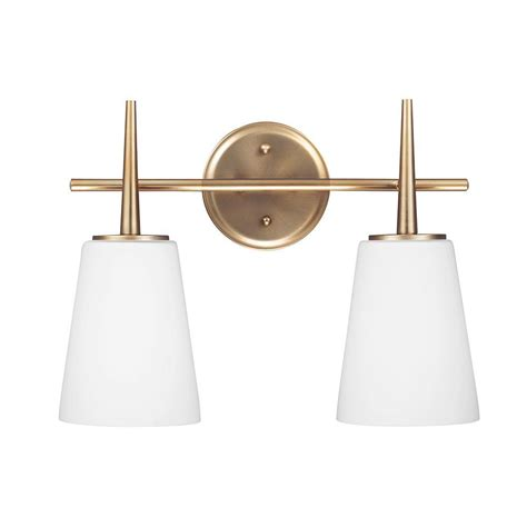 Glass Bathroom Light Sea Gull Lighting Driscoll 2 Light Satin Bronze Wall Bath Vanity Light With Inside White Painted