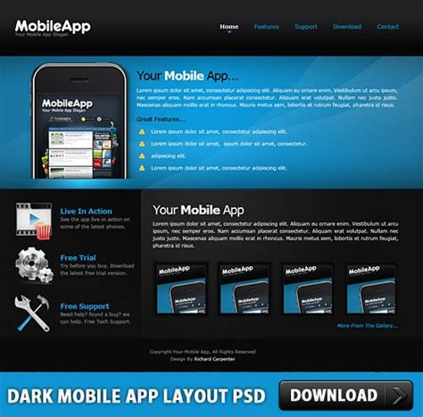 Mobile App Layout Free Download | download free dark mobile app layout free psd at