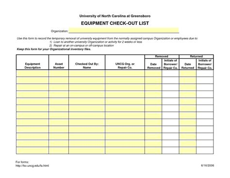 sle equipment sign out sheet employee tool checkout form best employee 2018