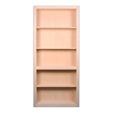 unfinished wood bookshelves invisidoor 32 in x 80 in unfinished maple 4 shelf bookcase interior door slab idbc32ma the