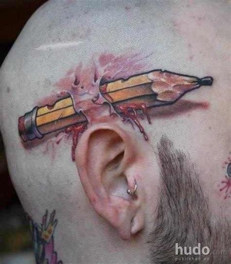 pen tattoo ear 3d pen tattoo behind ear photo 6 real photo pictures