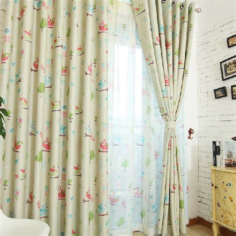 Cartoon Bird Tree Kids Light Yellow Nursery Curtains Nursery Curtains