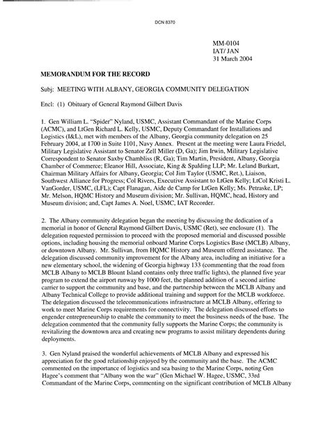 Memorandum For The Record Template by Department Of The Navy Memorandum For The Record