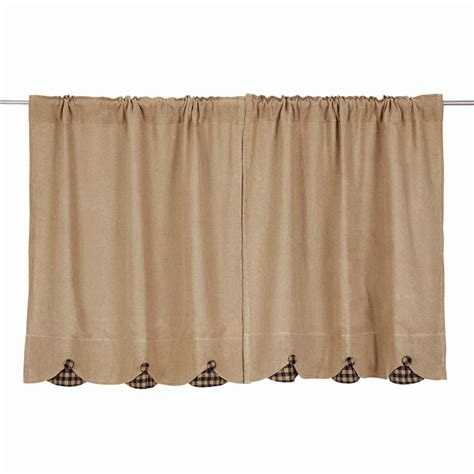 tier curtains burlap w scallop check tier curtains pair www