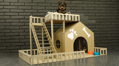how to make dog house how to make amazing puppy dog house from cardboard youtube