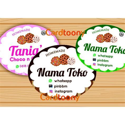 sticker stiker label nama toko produk cookies makanan