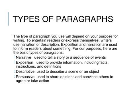 paragraph types paragraph types