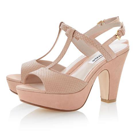 dune flo suede peeptoe block heel sandals in pink lyst