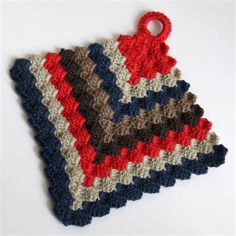crochet pine forest potholder leikitty