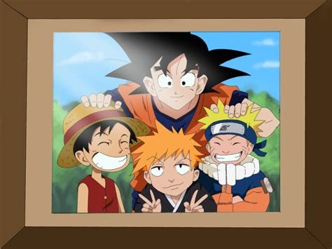 imagenes de goku luffy y naruto naruto goku luffy and ichigo coloring by m8jin12 on