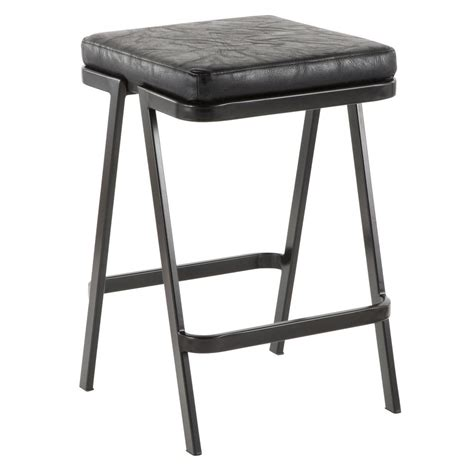 Black Faux Leather Counter Stools by Lumisource Seven 25 In Backless Black Faux Leather
