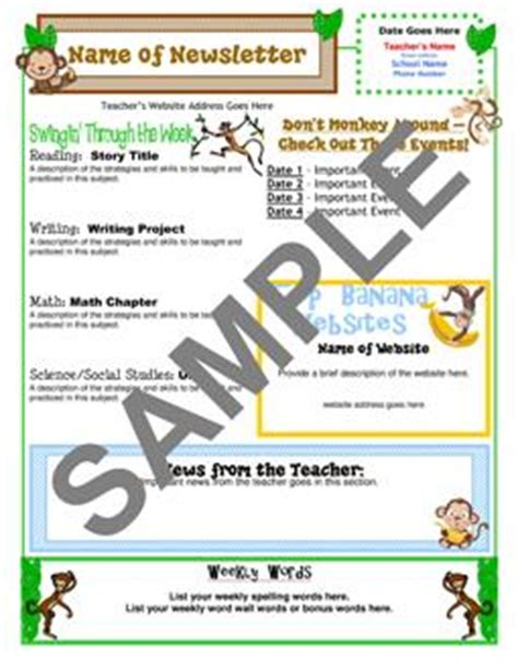 Classroom Theme Resources From Teacher S Clubhouse Monkey Newsletter Template