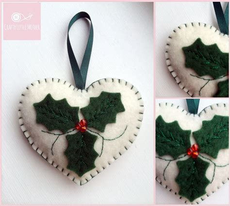 felt christmas decorations holly hearts x by