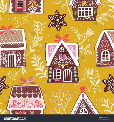 seamless pattern houses vector festive seamless pattern gingerbread houses stock