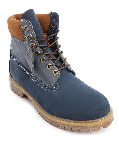 boots blue timberland premium nubuck 6 inch blue contrasted with rust