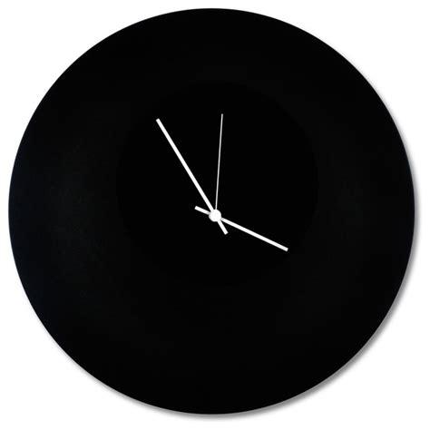 black modern wall clock blackout circle clock minimalist modern black metal