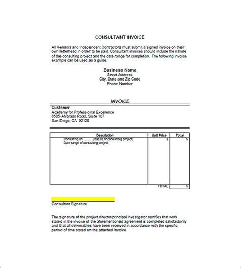 consultant invoice template search the web consultant invoice template search the web