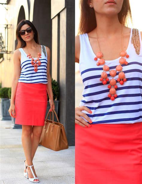 layla asgari j crew coral pencil skirt zara striped
