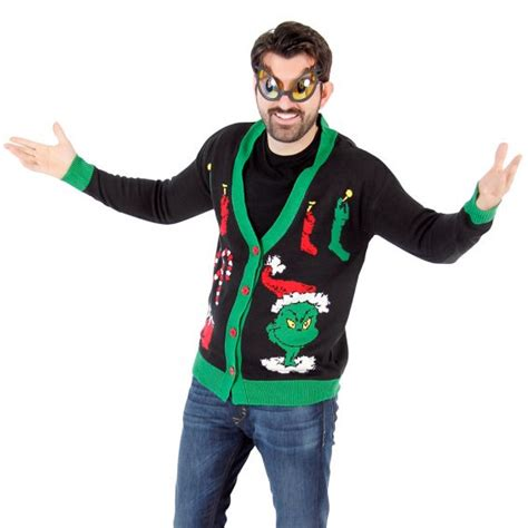 the grinch sweater with lights the grinch ugly christmas cardigan sweater