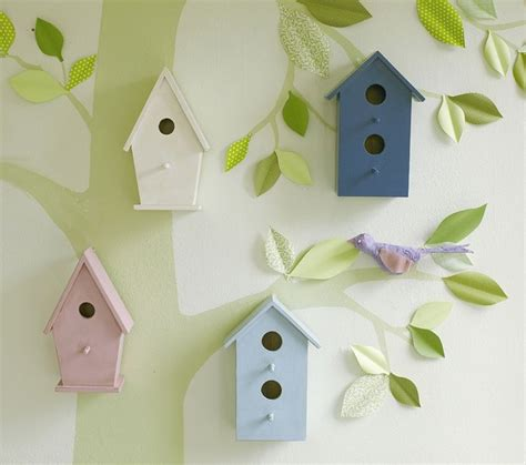 Nursery Bird Decor Wooden Bird Houses Eclectic Nursery Decor