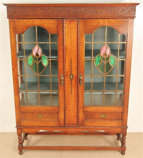oak bookcase with doors oak bookcase with leaded light glass doors 305902