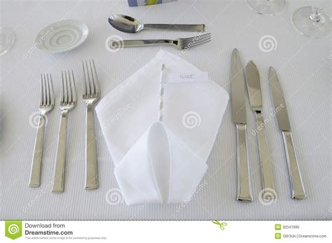 table setting cutlery white folded serviette stock photo image 32347680