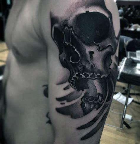 black and grey skull tattoo designs 50 unusual tattoos for men uncommon ink design ideas