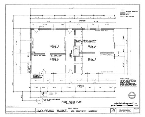 file drawing of the floor plan amoureaux house in