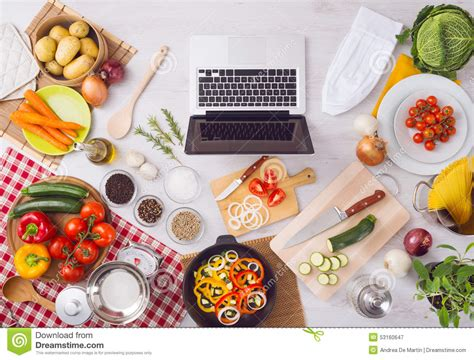kitchenware online cooking at home with online recipes stock photo image