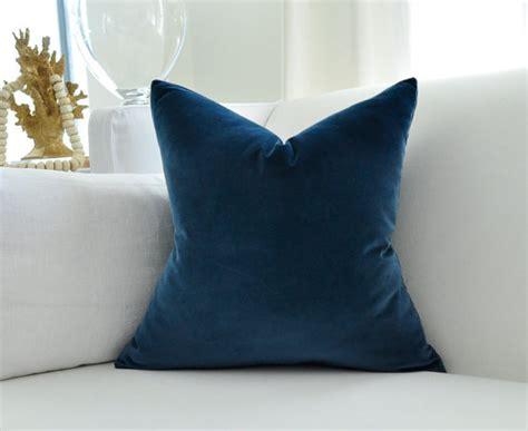 Navy Velvet Pillow by Cotton Velvet Pillow Cover Navy Blue By Woody Liana