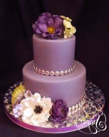 Purple Birthday Cakes with flowers fondant Gallery Picture