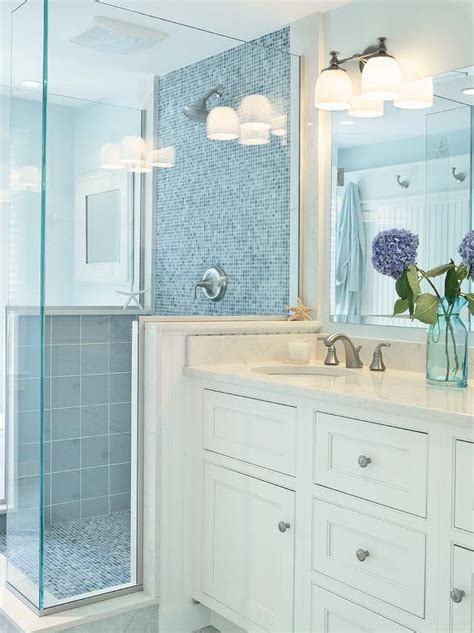 glas top vanity badezimmer blue glass shower tiles transitional bathroom donna