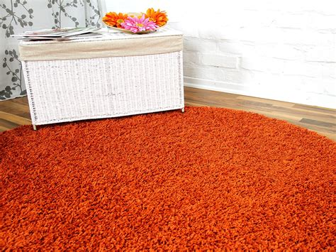 teppiche orange hochflor langflor teppich shaggy orange rund in 7