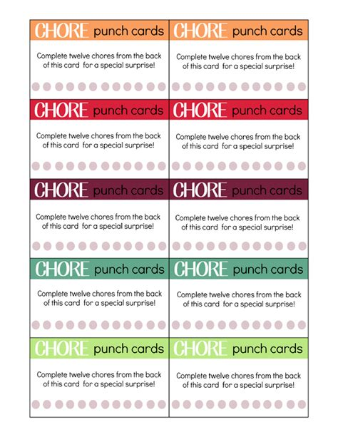 free printable chore punch card template printable chore cards for