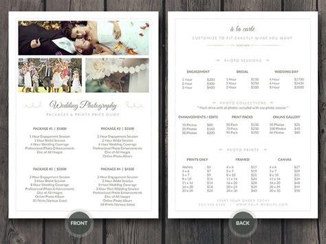 wedding photography template wedding photographer pricing guide psd template v3 on behance