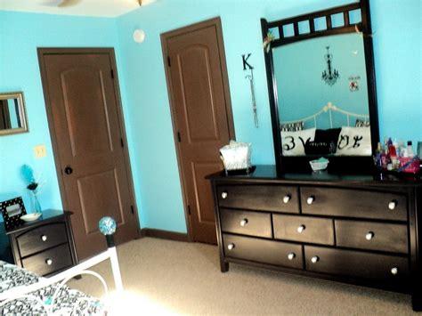 blue bedroom dark furniture black white and tiffany blue bedroom we painted her
