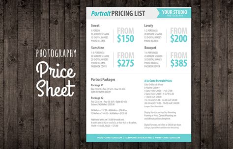 Photography Price List Sell Sheet Templates On Creative Market Videography Price List Template