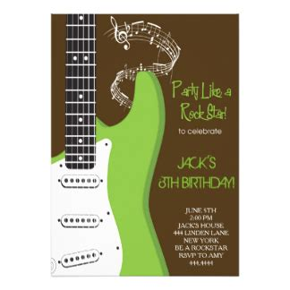 printable birthday cards with guitars guitar invitations announcements zazzle