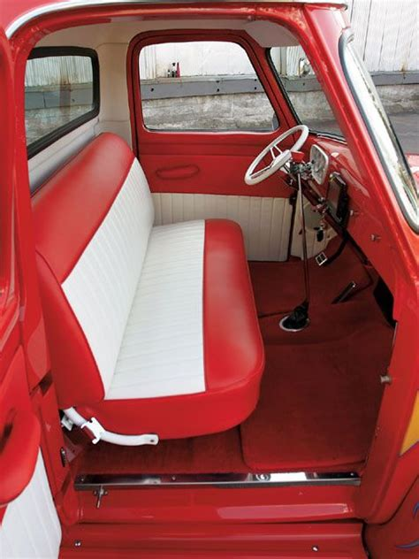 1955 ford f100 bench seat interior f100 1954 ford f100 interior view red and white
